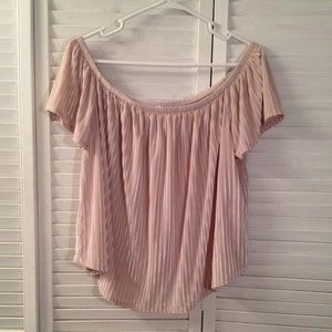 Forever 21 1X Beige Off-Shoulder Velvety Crop Top